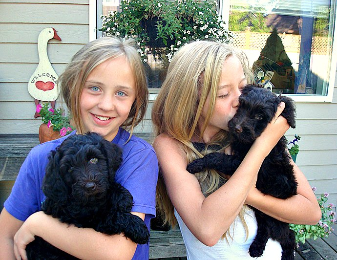Girls with black pups